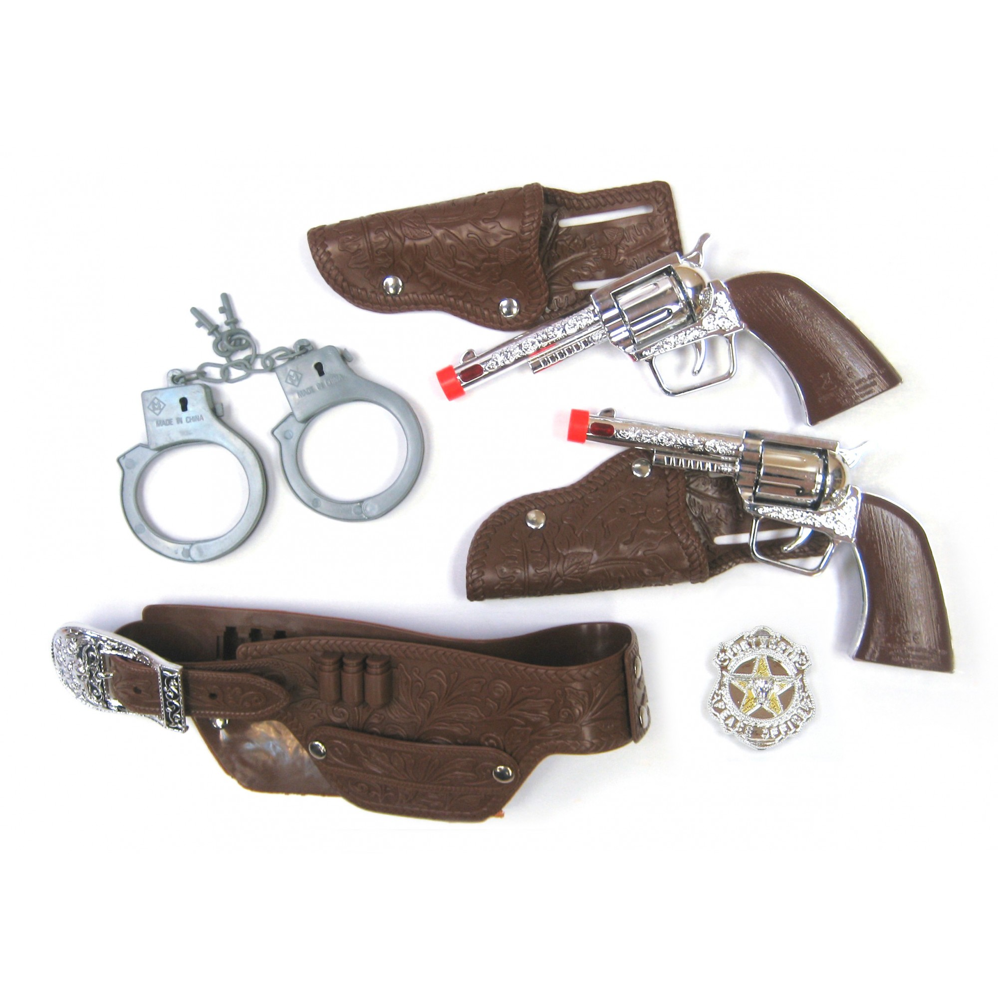Cow Boy Deluxe Playset W/Revolvers, Belt & Handcuff